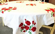 Vintage Cotton Tablecloth Red Roses by TheRunningRooster on Etsy