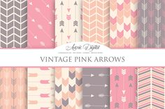 Pink Vintage Arrows Digital Paper by Avenie Digital on @creativemarket