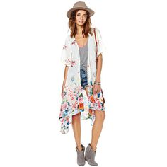 2016 Women Rainbow Long Floral Print Kimono Jacket
