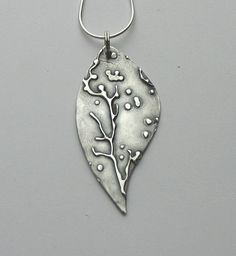 Embossed Silver Metal Clay Leaf Pendant by GinasCreativeAccents