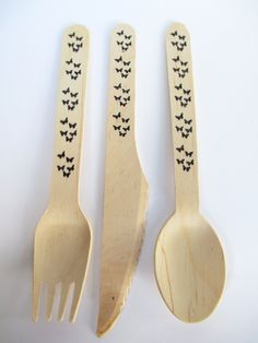 Black Butterflies Stamped Wooden Party Cutlery Disposable and Compostable. $11.00, via Etsy.