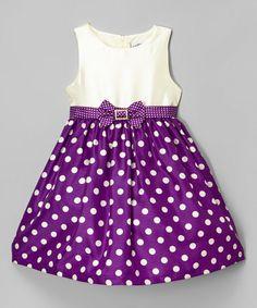 Look at this #zulilyfind! Purple Rhinestone Dot Dress - Infant, Toddler & Girls #zulilyfinds
