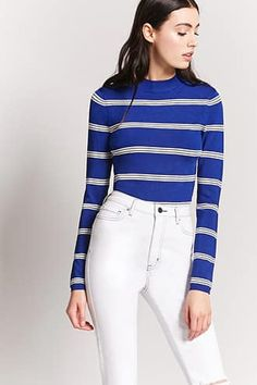 Product Name:Stripe Sweater-Knit Top, Category:sweater, White Jeans, Latest Trends, Forever 21, Street Style, Leggings, Knitting, Tees, Blouse, Price Point