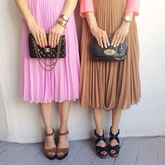 Hers & Hers #fashion #fashionaddict #fashionista #blog #selfie #shopping #instafashion #wiwt #wiw #style #igaddict #loveit #like #pink #twins #pleats #chloe #mulberry #chanel