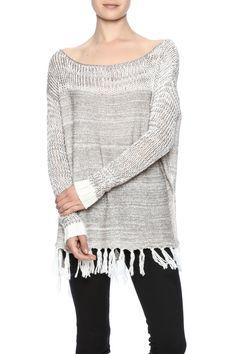 Lightweight spring sweater has a boat neckline andfringe detailing at the bottom hemline.   Fringe Spring Sweater by Two Chic Luxe. Clothing - Sweaters - Crew & Scoop Neck Cincinnati, Ohio