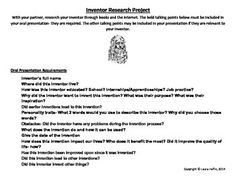 Inventor Research Project- Common Core- Background Information, Inventors, Research Projects, Student