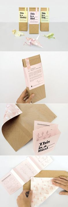Paperbags containing simple step by step instructions on how to fold the bag into an origami animal, in order to become a sustainable designer toy in paper. Designed by Magdalena Czarnecki.