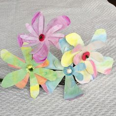 Girls made flowers with water color pencils and buttons!