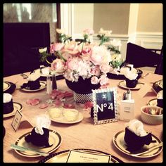 #Chanel Baby Shower table   Pink and black