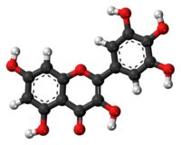 Myricetin-- is a member of the flavonoid class of polyphenolic compounds, with antioxidant properties.[1] It is commonly derived from vegetables, fruits, nuts, berries, tea,[2] and is also found in red wine.[3] Myricetin is structurally similar to fisetin, luteolin, and quercetin and is reported to have many of the same functions as these other members of the flavonol class of flavonoids.
