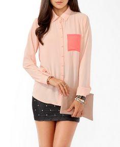 Longline Contrast Pocket Shirt   FOREVER21 - 2021839599