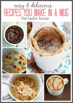 Delicious and Simple Recipes You Can Make in a Mug! Dessert and breakfast recipes that are easy and on the go.