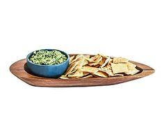 Bandeja para aperitivos de madera con bol de esteatita - ovalado