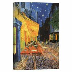 Print of Vincent van Gogh's The Cafe Terrace in the Place du Forum, Arles, at Night 1888 on canvas.   Product: Wall artConstruction Material: Cotton canvas and woodFeatures: Reproduction of original art by Vincent Van Gogh