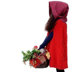 【楽天市場】【オリジナルデザイン】森ガール/赤ずきんちゃんスタイル/チェック柄フード付きニットポンチョ:elaine fashion