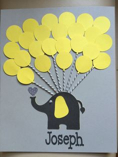 Yellow and Gray Elephant Baby Shower Sign in by FavorsAndMemories