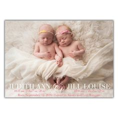 Elegant Twin birth announcement from Brown Paper Studios