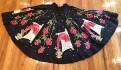 VTG-1950s-Bold-Color-Black-Rose-FLUME-PEN-Novelty-LOVE-LETTER-Full-Circle-Skirt #LoveLetter