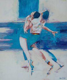 "Saatchi arte artista David Wilcox;  Pintura #art, ""Pasión en Blues"""