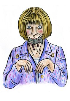 Anna Wintour with Mouse Print  Anna Wintour with Mouse Print  zoom  Anna Wintour might seem like an ice queen, but once she warms up to you she's very loving! Ok, her displays of affection are slightly unusual. Aw look, she caught you a mouse!