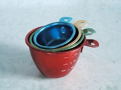 1960s Colored Anodized Aluminum Measuring Cups - fun for baking w/kids.