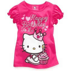 Hello Kitty Kids Shirts, Little Girls Birthday Tees ($9.98) ❤ liked on Polyvore featuring baby