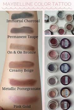 Makeup Dupes Maybelline Color Tattoos New Ideas Superstay Maybelline, Maybelline Eyeshadow, Cream Eyeshadow, Maybelline Color Tattoo, Makeup Swatches, Makeup Dupes, Makeup Products, Tutorials, Makeup Tricks