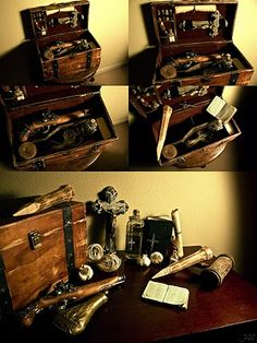 Vampire Hunting Kit    The case contains 1) a rosary 2) crucifix 3) a handwritten psalm (Luke 20:27) 4) a pistol 5) four oak stakes 6) a bottle of consecrated earth 7) a common prayer book 8) a wooden mallet 9) silver bullet mold 10) a cloth 11) two glass bottles containing garlic paste and holy water.