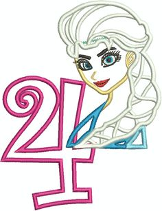 Frozen Elsa 4th Birthday Applique Machine Embroidery