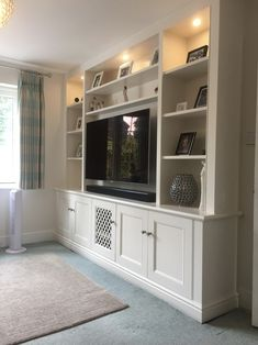 Wall Unit for Living Room Media Furniture Built In Wall Units, Built In Shelves Living Room, Living Room Bookcase, Living Room Wall Units, Living Room Storage, New Living Room, Living Room Designs, Living Room Decor, Tv Wall Units