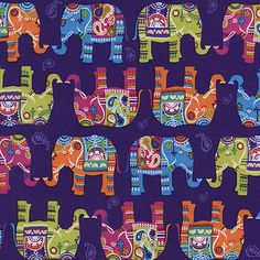 Elephants on Purple by Timeless Treasures ornate elephants on cotton novelty fabric Novelty Fabric, Novelty Print, Elephant Quilt, Elephant Fabric, Purple Elephant, Timeless Treasures Fabric, Patchwork Fabric, Scrapbook Paper, Printables