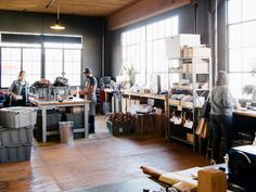 We visit the Wood & Faulk workshop in Portland, Oregan. Black Window Frames, Black Windows, Workshop Studio, Workshop Design, Leather Workshop, Home Studio, Woodworking Shop, Home Goods, Room