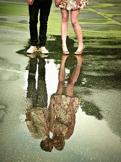 fun reflection shot couple