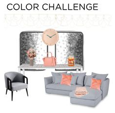 """""""Peach and gray"""" by destiny-jean ❤ liked on Polyvore featuring interior, interiors, interior design, home, home decor, interior decorating, Modway, Rosenthal, Present Time and Yankee Candle"""