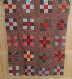 Antique Pennsylvania Nine Patch Quilt Top Red Centers Berks County Browns