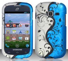 Amazon.com: Samsung Galaxy Discover S730G / Galaxy Centura S738C (StraightTalk/Net 10/Tracfone) Blue/Silver Vines Design Snap On Hard Case Protector Cover + Free Neck Strap + Free Mini Stylus Pen: Cell Phones & Accessories