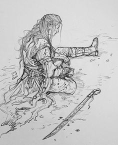 EVANKART - Injured elf soldier (I wonder if he's pondering why for the love of Manwe he didn't stay in Valinor)