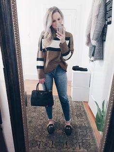 Gucci Dupes, H&M High waist jeans, Sheinside colour block sweater, Prada handbag - AndreaClare