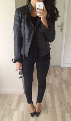all black and a leather jacket