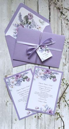 Quince Invitations, Creative Wedding Invitations, Purple Wedding Invitations, Wedding Invitation Design, Lilac Wedding Themes, Handmade Invitation Cards, Wedding Stationery, Wedding Card Design, Wedding Cards