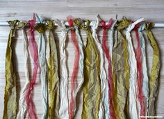 using old clothes or curtains to make new curtains made of strips, could even braid them!