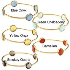 @Overstock - This classic bangle bracelet offers your choice of carnelian, smokey quartz, yellow onyx, green chalcedony or blue onyx gemstones in off-round shapes. The bracelet is crafted of 22-karat yellow gold over brass.http://www.overstock.com/Jewelry-Watches/New-22k-Yellow-Goldplated-Brass-Gemstone-Bangle-Bracelet/6495969/product.html?CID=214117 $34.99