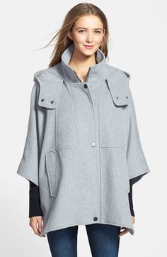 DKNY 'Blythe' Hooded Wool Blend Cape available at #Nordstrom