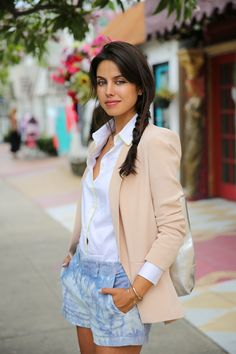 Blush silk blazer and tie dye shorts...love those shorts!.... And always!!!!! It's HOW you wear it!  She owns that look!!! :)