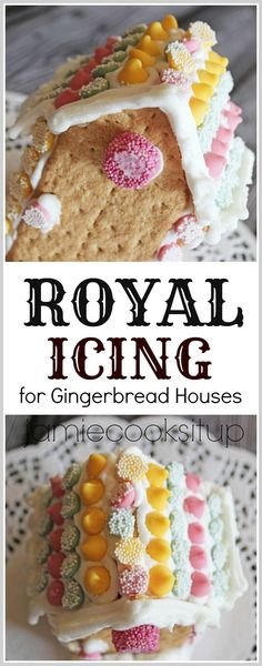 Royal icing for gingerbread houses -egg whites, icing sugar, cream of tartar. - Royal icing for gingerbread houses -egg whites, icing sugar, cream of tartar. Super easy and perfec - Royal Icing Gingerbread House, Easy Gingerbread House, Christmas Gingerbread, Royal Icing Recipe With Egg Whites, Easy Royal Icing Recipe, Gingerbread Frosting Recipe Easy, Royal Icing Recipe Cream Of Tartar, Royal Frosting, Best Holiday Cookies