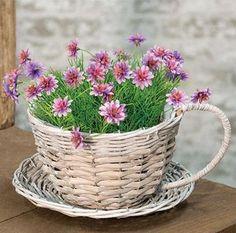 Grey Tea Cups, Shabby Chic Grey, Basket Tray, Vintage Farmhouse Decor, Grey Wash, Flower Planters, Flower Show, Tea Cup Saucer, Wicker Baskets