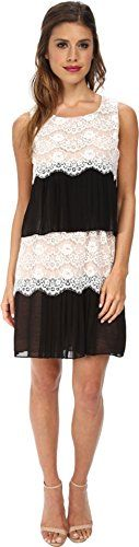 Jessica Simpson Womens Lace Chiffon Dress BlackIvory 4 ** More info could be found at the image url.