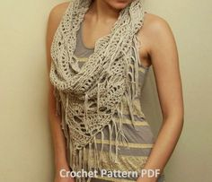 Crochet Pattern PDF - Triangle Cowl - Fringed Infinity Scarf Pattern going to have to figure out how to make this. Crochet Scarves, Crochet Shawl, Crochet Clothes, Knit Crochet, Crochet Granny, Infinity Scarf Crochet, Crochet Triangle Scarf, Crocheted Scarf, Headband Crochet