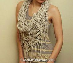 Crochet Pattern PDF - Triangle Cowl - Fringed Infinity Scarf Pattern