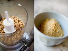 Ground up cheerios make a no-slip grip for slippery finger foods (banana, avocado, etc.)! More